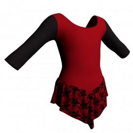 Body danza con gonnellino in belen pro maniche 3/4 e inserto SK714LCB406T