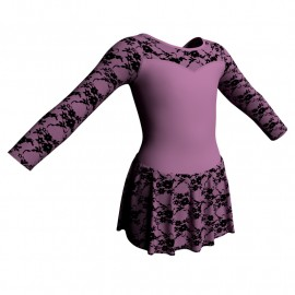 Body danza maniche lunghe con inserto belen pro e gonnellino in belen pro SK1LBB1019