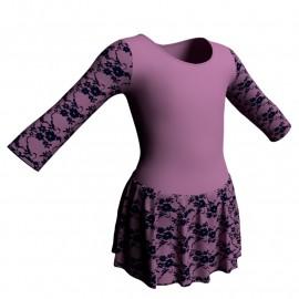 Body danza maniche lunghe con inserto belen pro e gonnellino in belen pro SK1LBB102