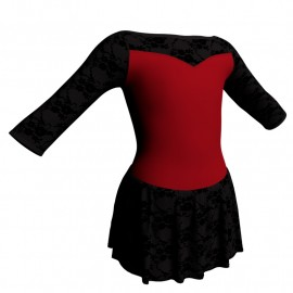 Body danza maniche 3/4 con inserto belen pro e gonnellino in belen pro SK1LBB105