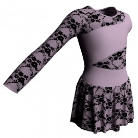 Body danza Monospalla con inserto belen pro e gonnellino in belen pro SK1LBB108SS
