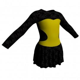 Body danza maniche lunghe con inserto belen pro e gonnellino in belen pro SK1LBB110