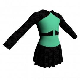 Body danza maniche lunghe con inserto belen pro e gonnellino in belen pro SK1LBB113