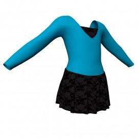 Body danza maniche lunghe con inserto belen pro e gonnellino in belen pro SK1LBB2532