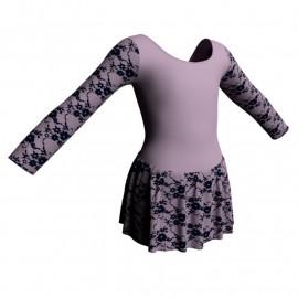 Body danza maniche lunghe con inserto belen pro e gonnellino in belen pro SK1LBB405T