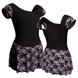 Body danza maniche aletta con inserto belen pro e gonnellino in belen pro SK1LBB414T