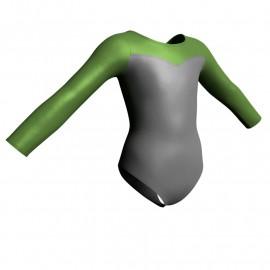 Body danza in lurex maniche lunghe con inserto PXC1019
