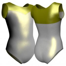 Body danza in lurex senza maniche con inserto PXC1019T