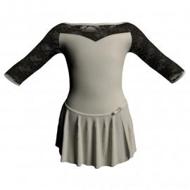 Body danza con gonnellino maniche 3/4 e inserto SK515LPL105