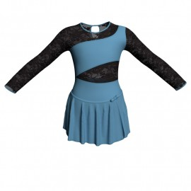 Body danza con gonnellino maniche lunghe e inserto SK515LPL108