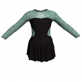 Body danza con gonnellino maniche lunghe e inserto SK515LPL110