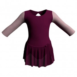 Body danza con gonnellino in chiffon maniche lunghe con inserto SK515LCC102