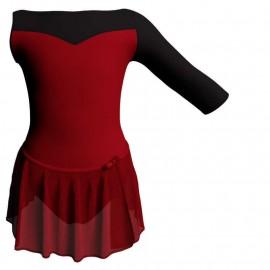 Body danza con gonnellino in chiffon monospalla con inserto SK515LCC105SST