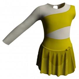 Body danza con gonnellino in chiffon monospalla con inserto SK515LCC108SS