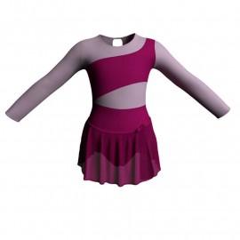 Body danza con gonnellino in chiffon maniche lunghe con inserto SK515LCC108