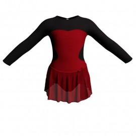 Body danza con gonnellino in chiffon maniche lunghe con inserto SK515LCC110