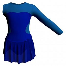 Body danza con gonnellino in chiffon monospalla con inserto SK515LCC110SST