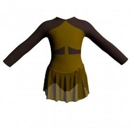 Body danza con gonnellino in chiffon maniche lunghe con inserto SK515LCC113
