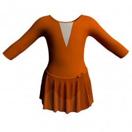 Body danza con gonnellino in chiffon maniche 3/4 con inserto SK515LCC116