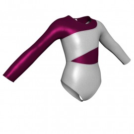 Body danza in lurex maniche lunghe con inserto PXC108