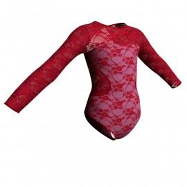 Body danza in belen pro maniche lunghe con inserto in rete o pizzo PBR110