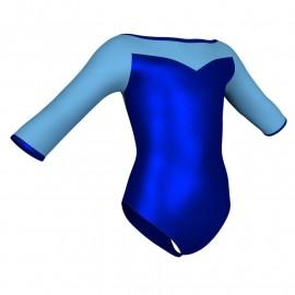 Body danza in lurex maniche 3/4 con inserto PXL105