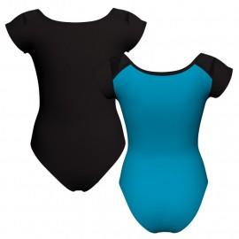 Body danza bicolore maniche aletta con inserto in rete o pizzo PLG1004