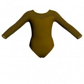 Body danza bicolore maniche lunghe con inserto in rete o pizzo PLG1019