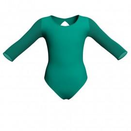 Body danza bicolore maniche lunghe con inserto in rete o pizzo PLG102