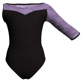 Body danza bicolore Monospalla con inserto in rete o pizzo PLG105SST