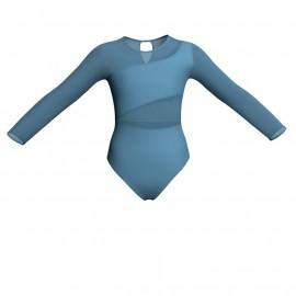 Body danza bicolore maniche lunghe con inserto in rete o pizzo PLG108