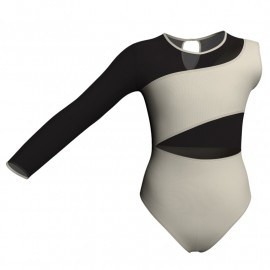 Body danza bicolore Monospalla con inserto in rete o pizzo PLG108SS