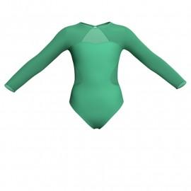 Body danza bicolore maniche lunghe con inserto in rete o pizzo PLG110