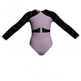 Body danza bicolore maniche lunghe con inserto in rete o pizzo PLG113