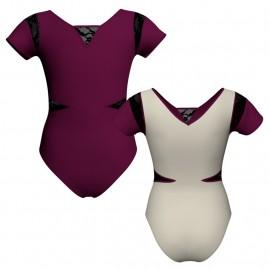 Body danza bicolore manica corta con inserto in rete o pizzo PLG115