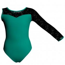 Body danza bicolore Monospalla con inserto in rete o pizzo PLG1019SST