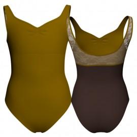 Body danza bicolore senza maniche con inserto in rete o pizzo PLG239