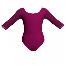 Body danza bicolore maniche 3/4 con inserto in rete o pizzo PLG406T