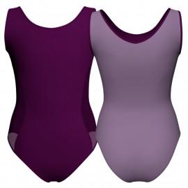 Body danza bicolore senza maniche con inserto in rete o pizzo PLG415