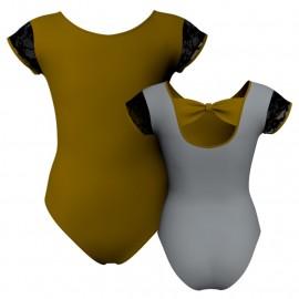 Body danza bicolore maniche aletta con inserto in rete o pizzo PLG210T