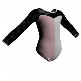 Body danza bicolor maniche lunghe con inserto PLL1019