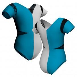 Body danza bicolor manica corta con inserto PLL115