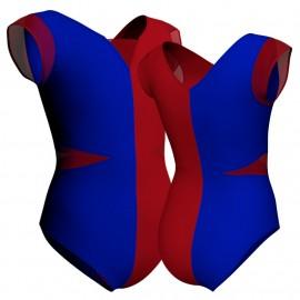 Body danza bicolor maniche aletta con inserto PLL115SS