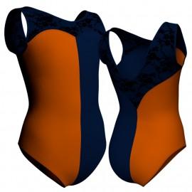 Body danza bicolore senza maniche con inserto belen pro PLZ103