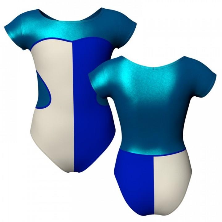 Body danza bicolore maniche aletta con inserto in lurex PLF1001