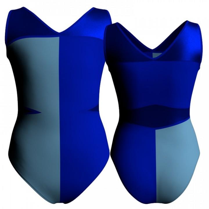 Body danza bicolore senza maniche con inserto in lurex PLF101