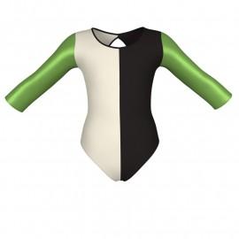 Body danza bicolore maniche lunghe con inserto in lurex PLF102