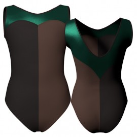 Body danza bicolore senza maniche con inserto in lurex PLF103