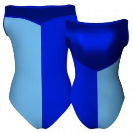 Body danza bicolore senza maniche con inserto in lurex PLF105SS