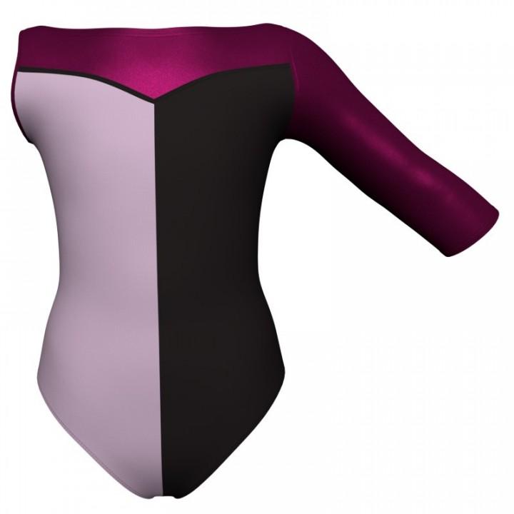 Body danza bicolore Monospalla con inserto in lurex PLF105SST